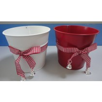 Red 16cm Metal Flower Pot