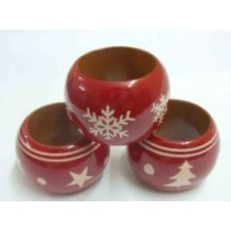 Red Wooden Napkin Ring Christmas Decor(3 Set)