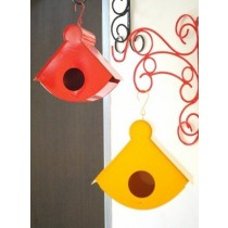 Red & Yellow Hanging Retro Bird House