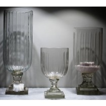 Ribbed Cut Glass Medium  Candle Holder(15 X 32 cm)