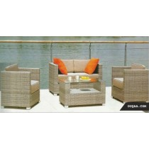 Ribbed Pattern Modular Style Garden Rattan Sofa Full Set