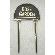 Rose Garden Cast Black Brass Garden Tag