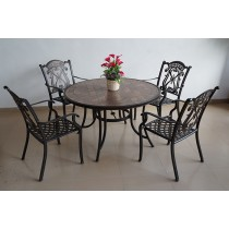 Round Assembly Ceramic & Aluminum Table & Chair Set