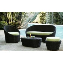 Round Black Sofa Set