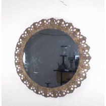 Round Copper Metal Decorative Wall Mirror