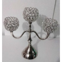 Round Crystal Bead 3 Arm T-Light Candelabras