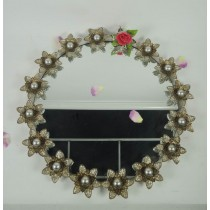 Round Decorative Beaded Metal Wall Mirror