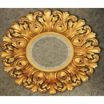 Round Designer Gold Wall Mirror