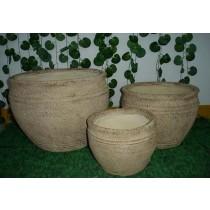 Round Fiber Stone Pots  Set of 3 Pcs