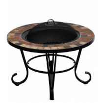 Round Firepit with 24 Inch Steel Bowl