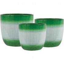 Round Green Ceramic Planter Set of 3 Pcs
