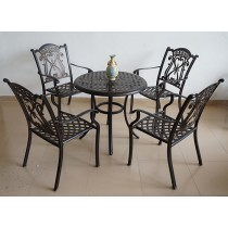 Round Matte Black Aluminium Cutout Design Table & Chair Set