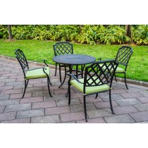 Round Matte Black Aluminium Table & Chair Set With Green Cushion