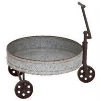 Round Metal 3-Wheeled Wheel Barrow