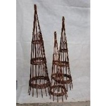 Round Peeled Willow Obelisk Set of 3