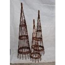Round Peeled Willow Obelisk Set of 3
