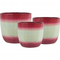 Round Red Ceramic Planter Set of 3 Pcs