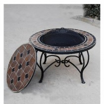 Round Table Firepit With 51cm Steel Fire Bowl