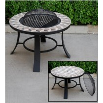 Round Tile Table Top Firepit 30 Inch