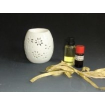 Round White Carving Ceramic Oil Burner(L 9 X W 9 X H 9.5)