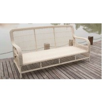 Round Wicker Design PE Rattan 3-Seater Sofa