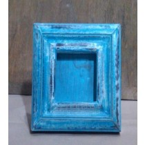 Rustic Blue Washed Wooden Photo Frame