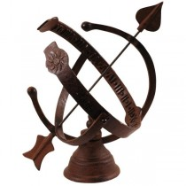Rustic Brown Cast Iron Unique Sundial