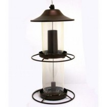 Rustic Brown Finish Plastic Hanging Bird Feeder