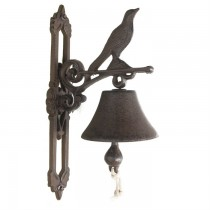 Rustic Cast Iron Bird Design Garden Bell