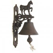 Rustic Cast Iron Horse Design Garden Bell