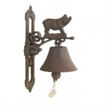 Rustic Cast Iron Pig Design Garden Bell