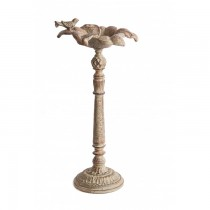 Rustic Cream Finish Cast Iron Bird Bath