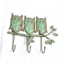 Rustic Green Hand Curved Owl Shape 3 Wall Hook