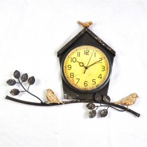 Rustic Home Shape & Bird Metal Wall Clock