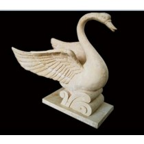 Sandstone Carved Base Swan Water Fountain