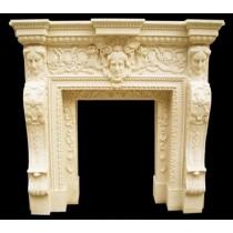 Sandstone Carved Lady Face Design Fireplace