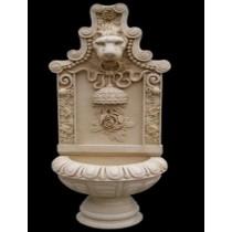 Sandstone Carved Lion & Floral Design Fountain