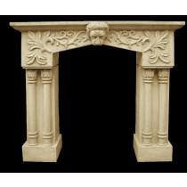 Sandstone Hand Carved Floral Work Fireplace