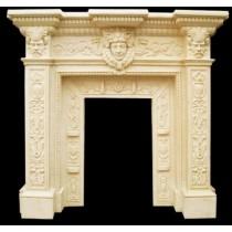 Sandstone Lady & Man Face Design Fireplace