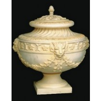 Sandstone Lion Face Design Jar Style Flowerpot