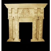 Sandstone Square Floral Designer Pillar Fireplace
