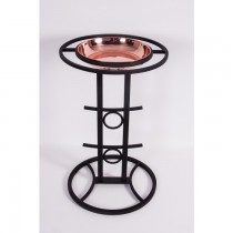 Satin Black Finish Modern Bird Bath