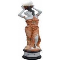 Sculpture of Lady with Lantern on Her Head