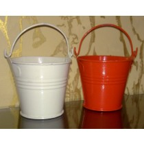 Set-2 Orange & White Bucket Style Metal Planter With Handle