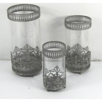 Set/3 Antique Gray Cutout Votive Candle Holder
