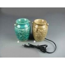 Set-2 Green & Gold Ceramic Electric Wax Warmer With line Oil Burner