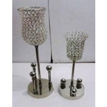 Set Of 2 Crystal Hurricane Candle Holder(18 X 18 X 56 CM)
