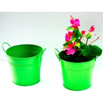 Set Of 2 Green Galvanized Metal Planter