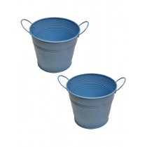 Set Of 2 Light Blue Galvanized Metal Planter
