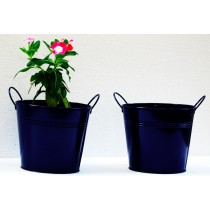 Set Of 2 Navy Blue Galvanized Metal Planter
